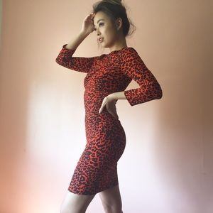 TopShop Orange Leopard Dress